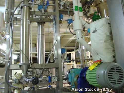 """Used- Amicon Filtration System Consisting Of: (3) Pall filters, approximately 6"""" diameter x 3' long. Unit includes APV 100 s..."""