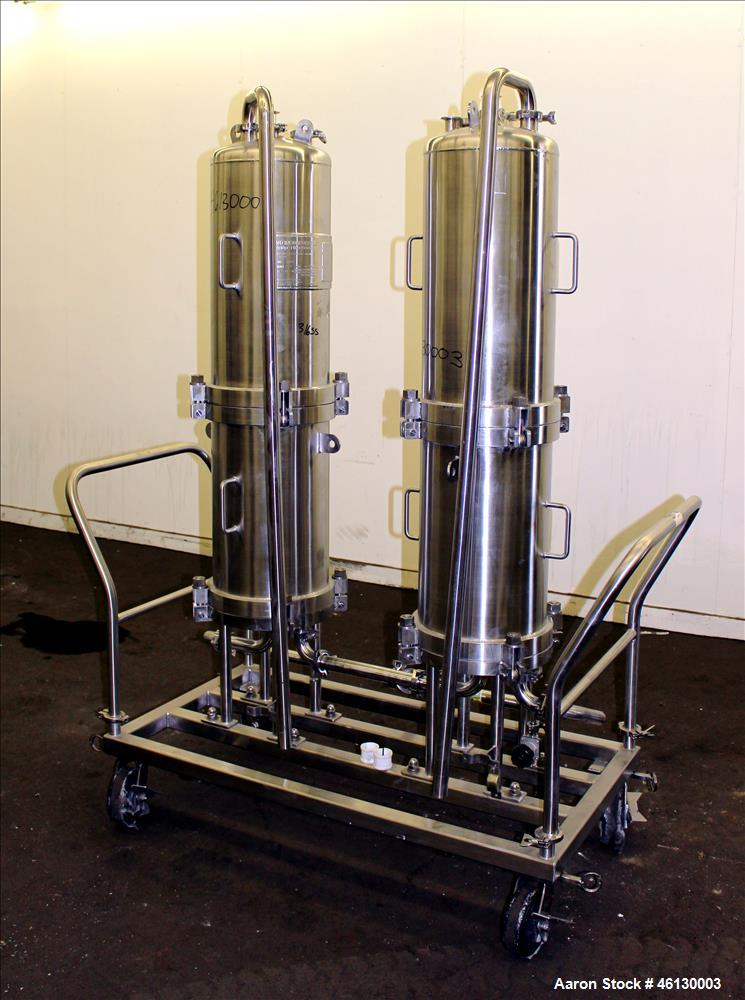 Used- Cuno Dual Filter Skid, Model 12ZPB4, 316L Stainless Steel. (2) Cartridge filter housings, no filters, approximately 12...