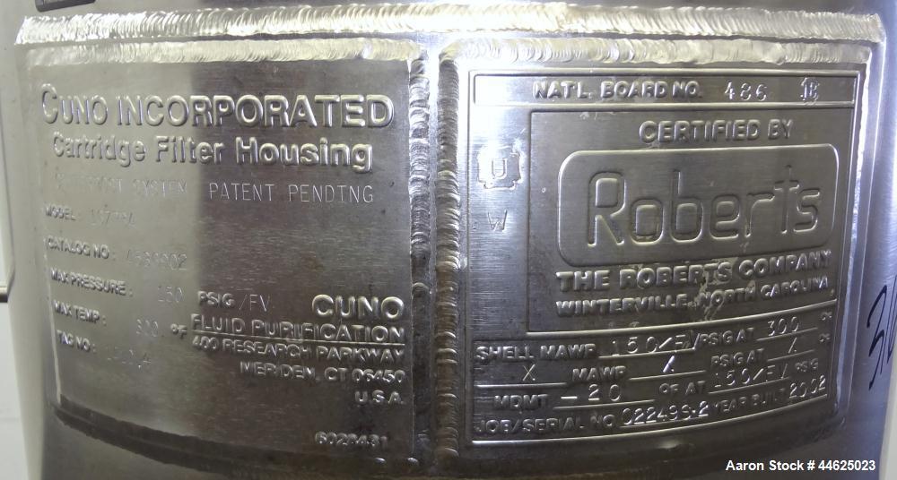 Used- Stainless Steel Cuno Zeta Plus Cartridge Filter Housing, Model 16ZPB4