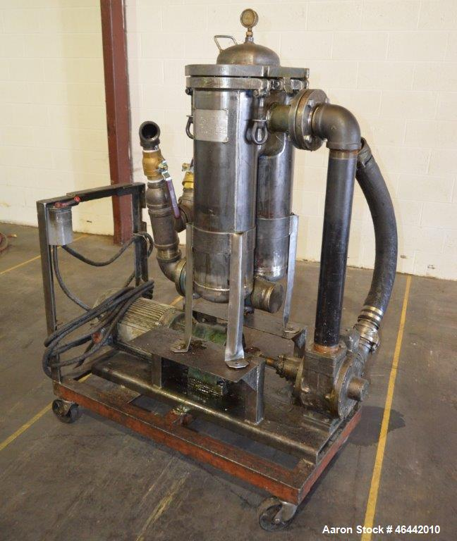 Used- FSI Filter Specialists Double-Barreled Bag Filter, Model FSP-250, Carbon steel. Approximate 8.8 square feet surface ar...
