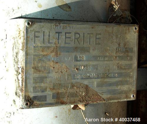 "Used- Filterite cartridge filter, model 36MS03-316-3FD-C150, stainless steel. 12"" x 34"" straight side. Dished bolt on top, d..."