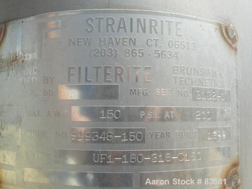 USED:Strainrite Filterite Filter/Bag Strainer, model 919348-150, type UF1-180-316-C150, 316 stainless steel.Approximately 2....