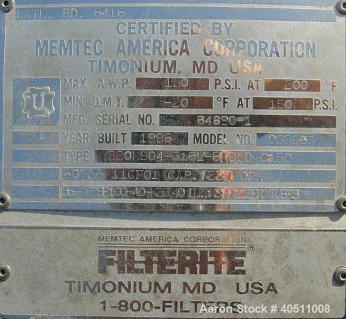 "Used- Filterite Cartridge Filter, Model 935563, Type 220MSO4-316L-6FOLD-C150, 316L Stainless Steel. Approximately 24"" diamet..."