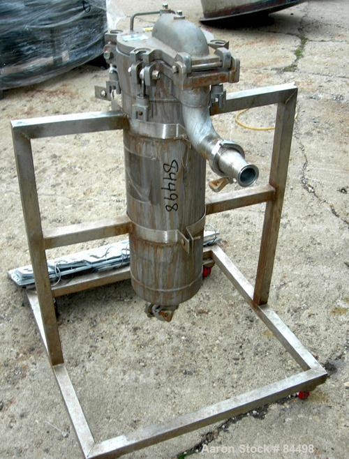 USED: Filtration Systems liquid mesh basket filter, model CF-8M, 316 stainless steel. Rated approx 220 gallons per minute. N...