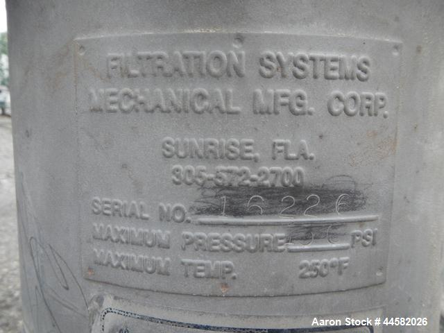 "Used- Filtration Systems Inline Stainless Steel Basket Filter, 8"" diameter x 24"" deep housing rated 150 psi, .serial# 16226"