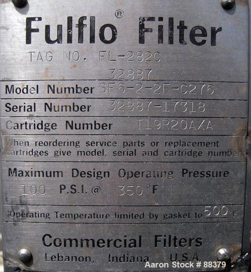 "Used- Fulflo Cartridge Filter, Model SF6-2-2F-C276, Hastelloy C276.  Approximately 3 square feet of filter area. 8 1/2"" diam..."