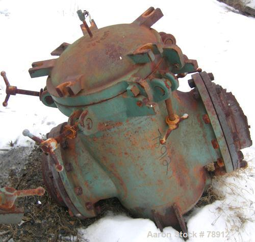 """Used- Haward Inline Filter, Model 73, Vertical. 20"""" diameter x 24"""" deep. 12 square foot filter area. Rated M.W.P. 200 PSI. C..."""