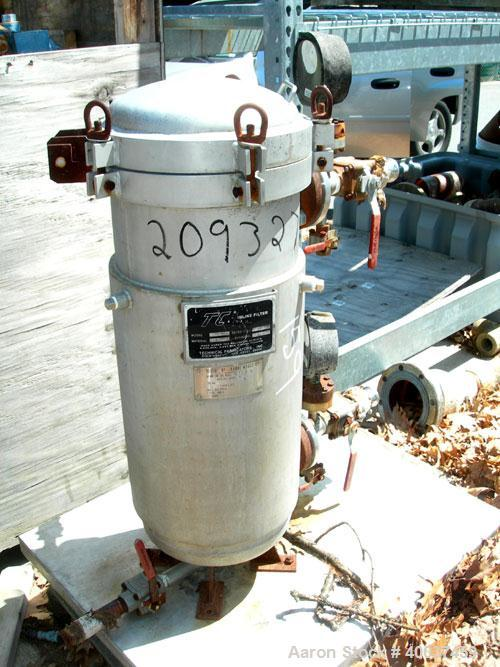 "Used- Technical Fabricators inline filter, model I/0 500-2, 316 stainless steel. Jacketed chamber 12"" diameter x 30"" straigh..."