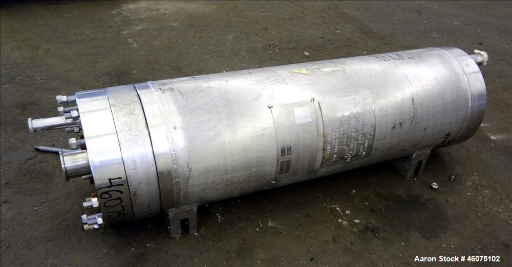 "Used- Ionics Pressure Cartridge Filter, 304 Stainless Steel. Approximate 7"" diameter x 24"" long chamber with bolt on covers...."