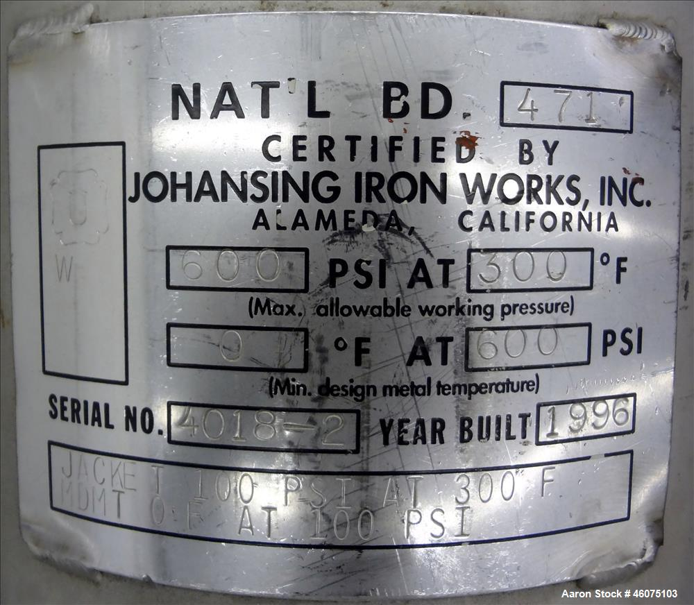 "Used- Johansing Iron Works Pressure Cartridge Filter, 304 Stainless Steel. Approximate 7"" diameter x 24"" long chamber. Vesse..."
