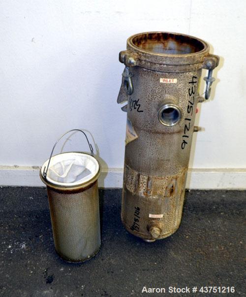 "Used- Krystal Klear Basket Filter, 7 Gallon Capacity, 321 Stainless Steel, Vertical. Approximately 8-1/2"" diameter x 28"" dee..."