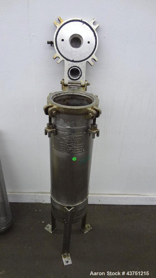 "Used- Mechanical Basket Filter, 7 Gallon Capacity, 316 Stainless Steel, Vertical. Approximately 8-1/2"" diameter x 29"" deep h..."