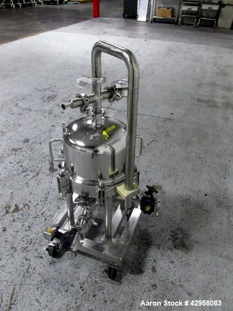 """Used- Millipore Filter Housing, Model CES8403. 316L Stainless steel construction, rated 45 psi at 145 degrees C (294 F). 12""""..."""