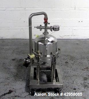 "Used- Millipore Filter Housing, Model CES8403. 316L Stainless steel construction, rated 45 psi at 145 degrees C (294 F). 12""..."
