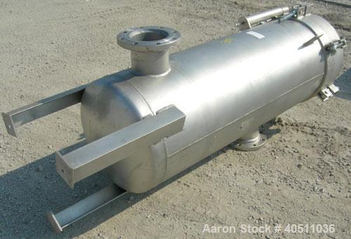 "Used- 3-L Cartridge Filter, Model FWFA-3840-F150, 304 stainless steel. Approximately 24"" diameter x 56"" straight side, clamp..."