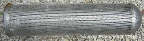 """Used- Basket Strainer Filter, 316 stainless steel. Jacketed chamber approximately 8"""" diameter x 29"""" deep. Flat bolt down top..."""