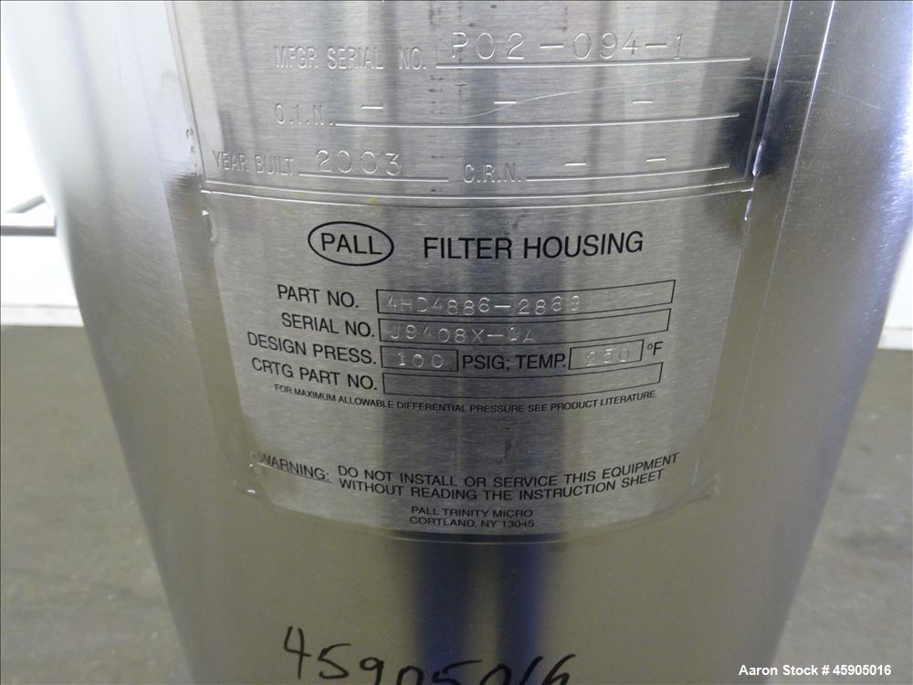 "Unused- Pall Filter Housing, Part#4HD4886-2869, 316L Stainless Steel. Approximate 13-3/4"" diameter x 46"" straight side, dish..."
