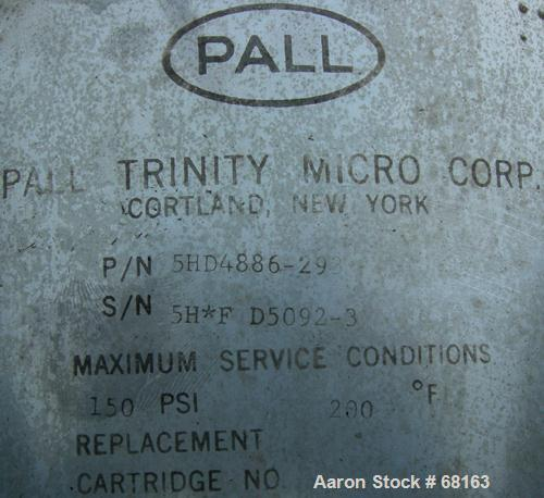 "Used- Pall Trinity Cartridge Filter, 18 Square Feet, 304 Stainless Steel. 13"" Diameter x 43"" straight side, dish top and bot..."
