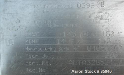 Used-Unused- Stainless Steel Pall Cartridge Filter Housing, Model ALTA32G52410