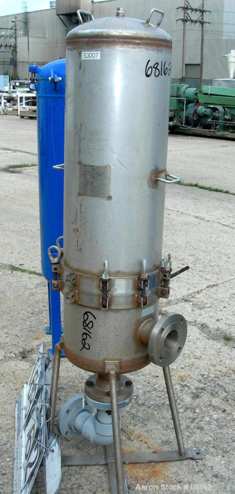 "Used- Pall Trinity Cartridge Filter, 18 Square Feet, 304 Stainless Steel. 14"" Diameter x 44"" straight side, dish top and bot..."