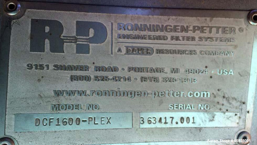 Used- Ronningen-Petter DCF 1600 Twin Series 3X Pod Filters, Model DCF 1600 DCF Twin. Filtration Surface 610 x 3, area - in2 ...