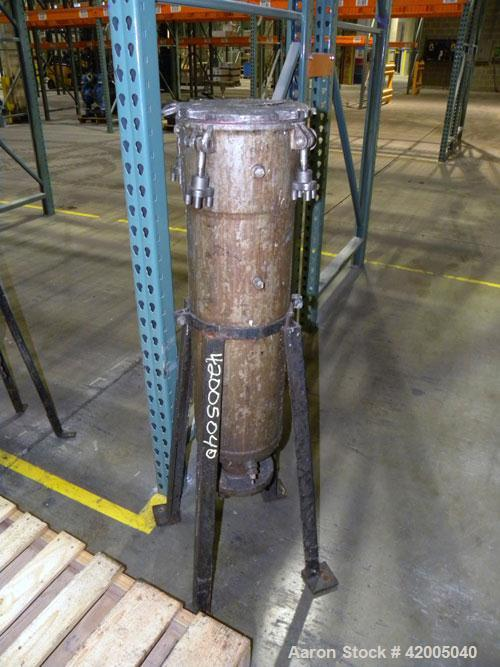 """Used- Ronningen-Petter Single Bag Filter, 304 stainless steel. 8"""" diameter x 31"""" deep filter housing, rated 150 psi at –20 t..."""
