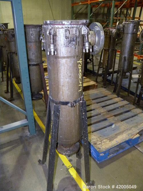 "Used- Ronningen-Petter Single Bag Filter, 316 stainless steel. 8"" diameter x 31"" deep filter housing, rated 150 psi at –20 t..."