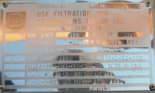 Used- USF Filtration Separators Teflon Lined Filter, model T940451-000, type 180FH4-316L-6FD-C150-222ECTFE 90MILS, 316L stai...
