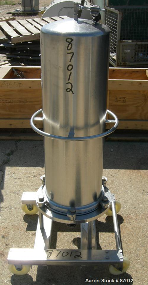 "Used- Valex Filter Housing, 316 Stainless Steel. 12-3/8"" Diameter x 35"" straight side. Dish top, flat bolt-on bottom. 1-1/2""..."