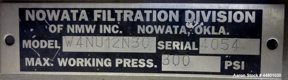 Used- Nowata Filtration W4 Series Liquid Bag Filter Housing, Model W4UN12N30, 316 Stainless Steel. Flow rates to 50 gallons ...