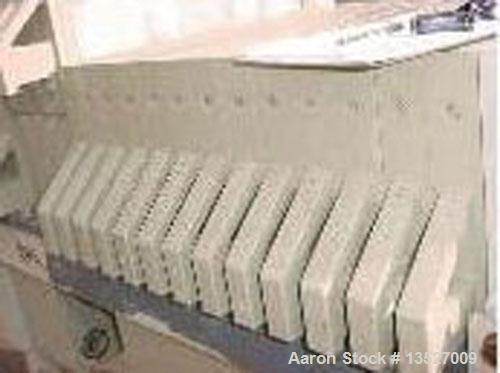 Used-WWE 10 cubic foot filter press. (21) 800 mm CGR polypropylene plates. 1 and 3 button design. Center feed, 4 corner retu...