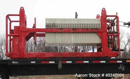 """Used- Flow Trend Center Feed Filter Press, (32) plates 39"""" x 39"""", 14' long x 48"""" wide .  wt. 10,000 lbs"""
