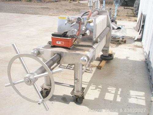 """Used- Schenk Stainless Steel Sanitary Filter Press. Approximately 60 stainless steel plates. 24"""" x 24"""". Hydraulic closure. D..."""