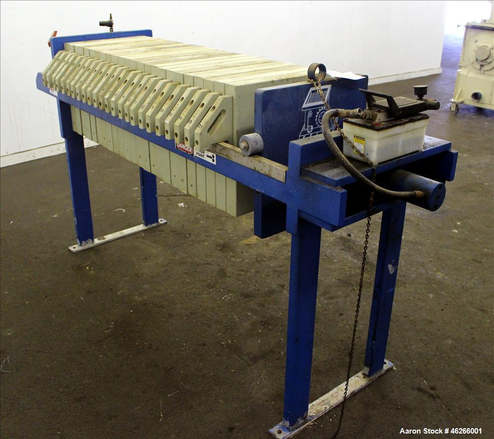 Used- K.F. Industrial Service Filter Press, Carbon Steel. Approximate 40.8 square feet surface area, approximate 3.4 cubic f...