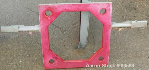 "USED: Plate and frame filter press. 15 polypropylene plates 18"" x 18"" and 13 frames 18"" x 18"", 1"" thick. Approximate 40 squa..."