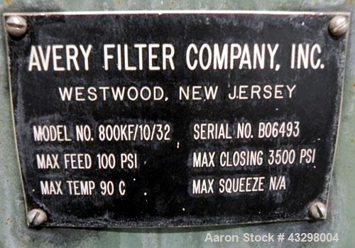 "Used- Avery Filter Company Filter Press, Model 800KF/10/32. (15) 800mmx 800mm x approximate 1/2"" recess polypropylene filter..."