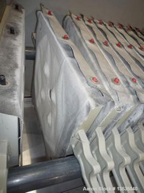 "Used-Beco HFP Filter Press, stainless steel with (21) 18.5"" (470 x 470 mm) ppolypropylene plates, 82 square feet (7.26 squar..."