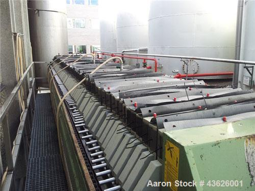 Used-Della Toffola 800 x 800 mm Chamber Filter Press, 100 plates polypropylene, capacity 49 cubic feet, 1387 liters, plate s...