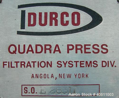 "Used- Durco Filter Press, Model QPG-1200/32-55. (58) 47"" x 47"" x 2 1/2"" thick x 1/2"" recess polypropylene overhead suspended..."
