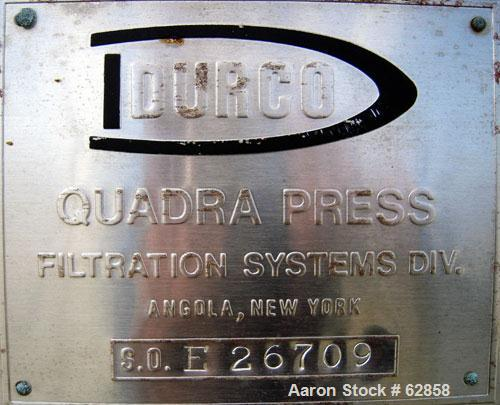 """Used- Durco Quadra Press Filter Press Frame Only. Requires 48"""" x 48"""" plates. 17'10"""" fully opened, 14'10"""" closed length. Cent..."""