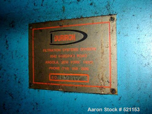 """USED: Duriron plate and frame filter press with mild steel frame, hydraulic ram closure and approximately 40"""" x 40"""" plates."""