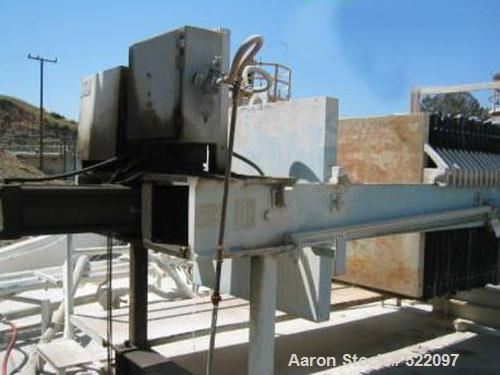 """USED: Eimco-Shriver 48"""" x 48"""" filter press, size M1200F3 with 48"""" x 48"""" polypropylene recessed plates, total of 34 plates. P..."""