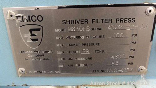 """Used- Eimco Shriver Filter Press, Model M630FB. Carbon steel frame, (12) 24-3/4"""" x 24-3/4"""" x approximate 1/2"""" recess polypro..."""