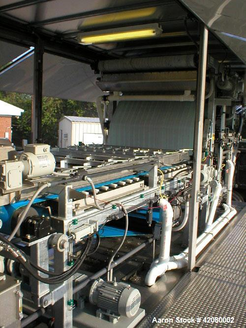 Used-Enviroquip 1.5 Meter Belt Filter Press, Series 3KP, Carbon steel wetted parts and frame.  Mounted in an enclosed Genera...