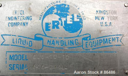 "USED: Ertel plate and frame polishing press, model EUS-10-10, all 316 stainless steel. 16"" x 16"" plates and frames, (3) fram..."