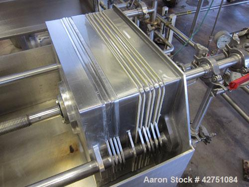 Used- Ertel Vapor-Master Enclosed Plate & Frame Filter Press, Model EUS-16, 16'' x 16'', 316 Stainless Steel. (5) Plates, (4...