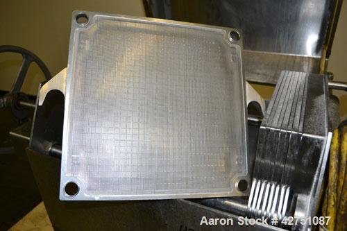"Used- Ertel Vapor-Master Enclosed Plate & Frame Filter Press, Model EUS-6, 16"" x 16"", 316 Stainless Steel. (5) Plates, (4) F..."