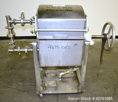 "Used-Ertel Plate & Frame Filter Press, Model EW-1158-304C-9A-55, 12"" Diameter, 316 Stainless Steel. (5) Plates, (4) Frames, ..."