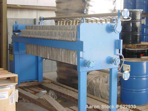 NEVER USED: Filtration & Separation Dynamics model EP630/32-30 filter press. 187 square foot filtration area. 9.8 cubic foot...