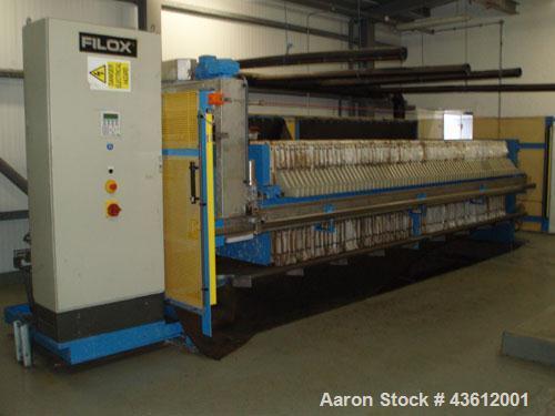 Used-Sidebar Filox 74 Chamber Filter Press, skid mounted.  3.3' x 3.3' (1000 x 1000 mm) plastic plates.  Maximum feed / filt...